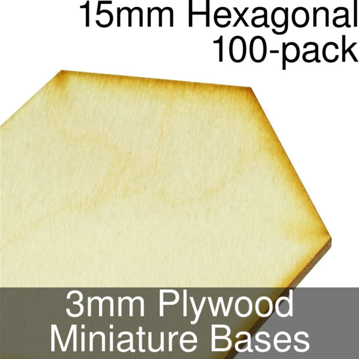 Miniature Bases, Hexagonal, 15mm, 3mm Plywood (100) - LITKO Game Accessories