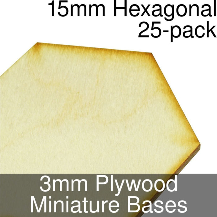 Miniature Bases, Hexagonal, 15mm, 3mm Plywood (25) - LITKO Game Accessories
