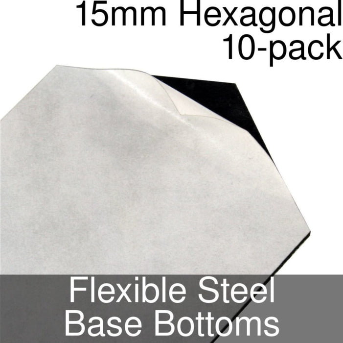 Miniature Base Bottoms, Hexagonal, 15mm, Flexible Steel (10) - LITKO Game Accessories