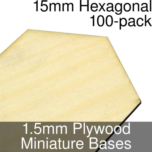 Miniature Bases, Hexagonal, 15mm, 1.5mm Plywood (100) - LITKO Game Accessories