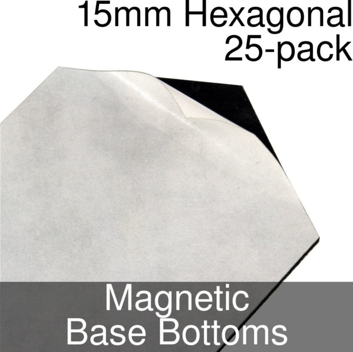 Miniature Base Bottoms, Hexagonal, 15mm, Magnet (25) - LITKO Game Accessories