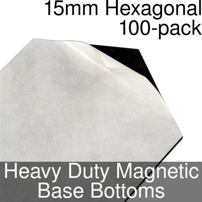 Miniature Base Bottoms, Hexagonal, 15mm, Heavy Duty Magnet (100) - LITKO Game Accessories