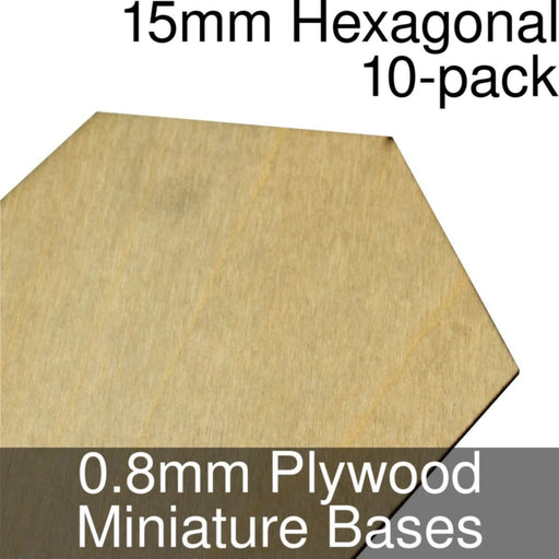 Miniature Bases, Hexagonal, 15mm, 0.8mm Plywood (10) - LITKO Game Accessories