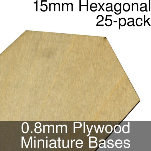 Miniature Bases, Hexagonal, 15mm, 0.8mm Plywood (25) - LITKO Game Accessories