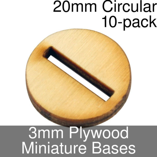 Miniature Bases, Circular, 20mm (Slotted), 3mm Plywood (10) - LITKO Game Accessories
