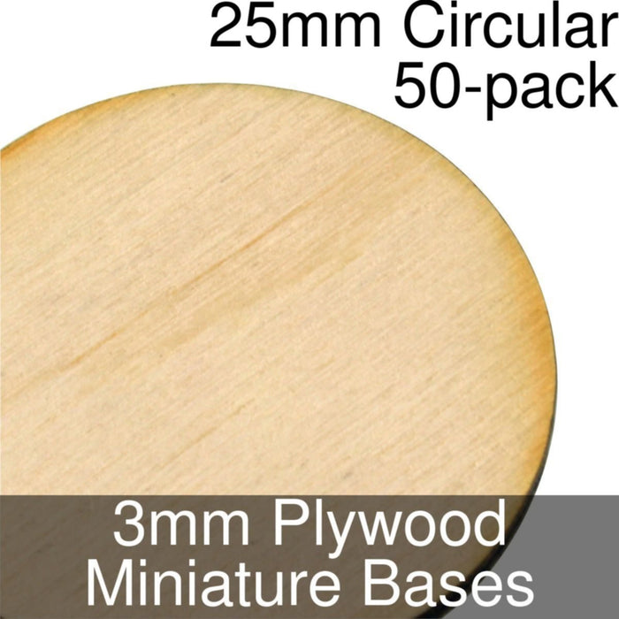 Miniature Bases, Circular, 25mm, 3mm Plywood (50) - LITKO Game Accessories
