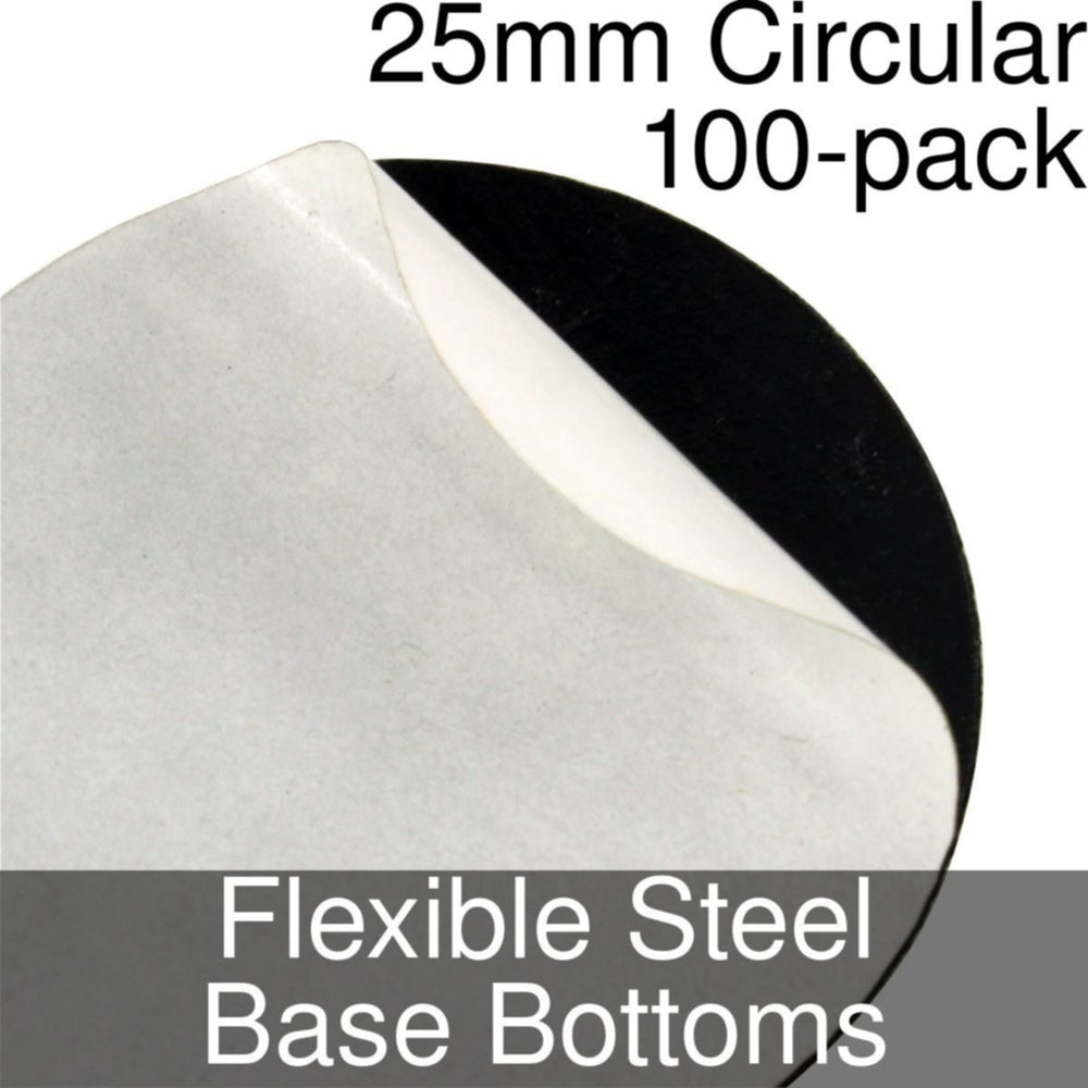 Miniature Base Bottoms, Circular, 25mm, Flexible Steel (100) - LITKO Game Accessories