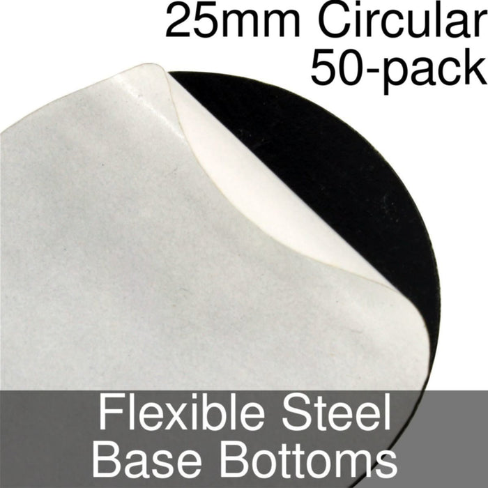 Miniature Base Bottoms, Circular, 25mm, Flexible Steel (50) - LITKO Game Accessories