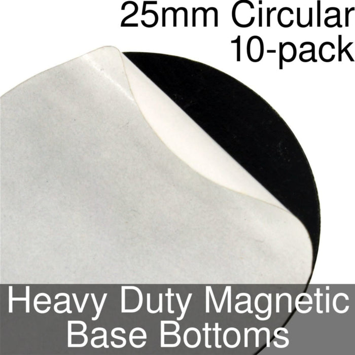Miniature Base Bottoms, Circular, 25mm, Heavy Duty Magnet (10) - LITKO Game Accessories