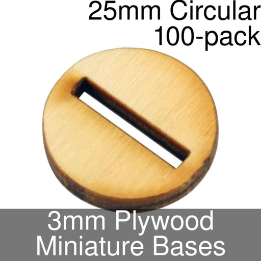 Miniature Bases, Circular, 25mm (Slotted), 3mm Plywood (100) - LITKO Game Accessories