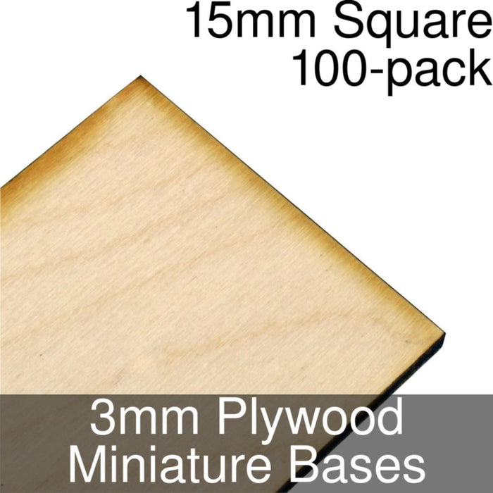 Miniature Bases, Square, 15mm, 3mm Plywood (100) - LITKO Game Accessories