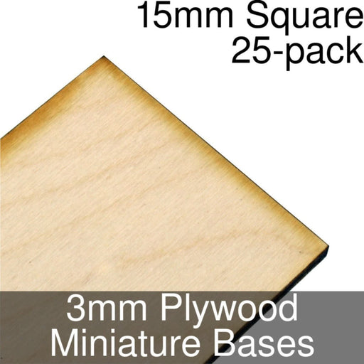 Miniature Bases, Square, 15mm, 3mm Plywood (25) - LITKO Game Accessories