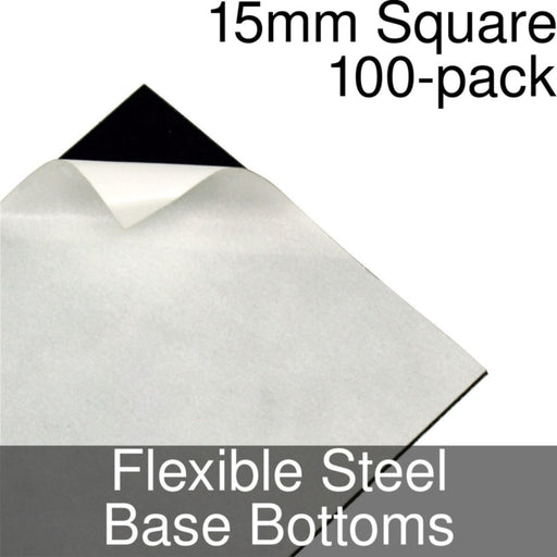 Miniature Base Bottoms, Square, 15mm, Flexible Steel (100) - LITKO Game Accessories