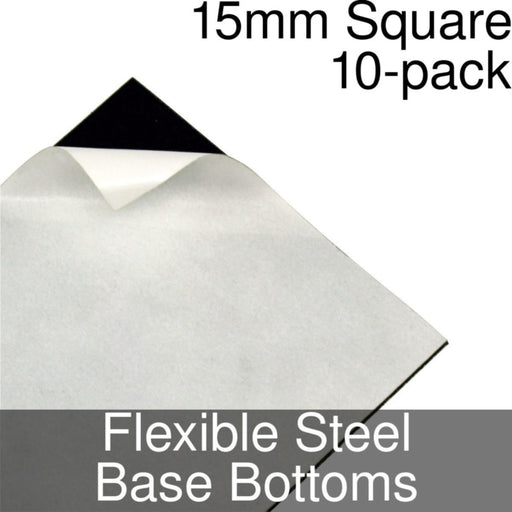 Miniature Base Bottoms, Square, 15mm, Flexible Steel (10) - LITKO Game Accessories