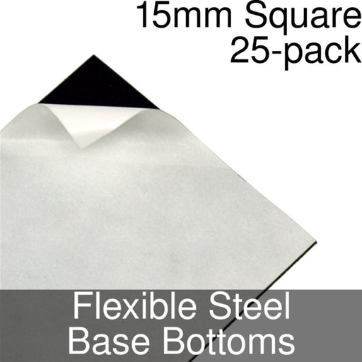 Miniature Base Bottoms, Square, 15mm, Flexible Steel (25) - LITKO Game Accessories
