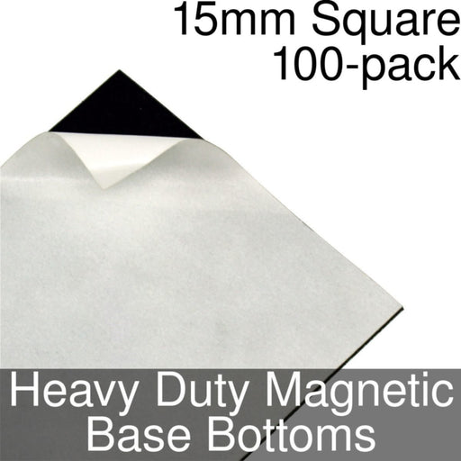 Miniature Base Bottoms, Square, 15mm, Heavy Duty Magnet (100) - LITKO Game Accessories