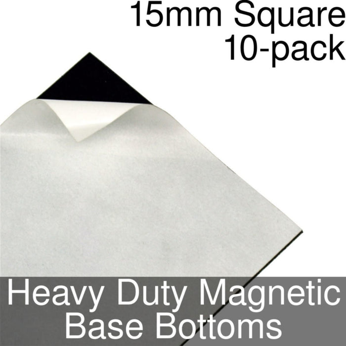 Miniature Base Bottoms, Square, 15mm, Heavy Duty Magnet (10) - LITKO Game Accessories