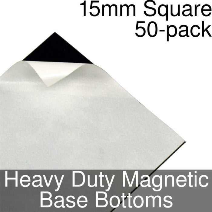 Miniature Base Bottoms, Square, 15mm, Heavy Duty Magnet (50) - LITKO Game Accessories