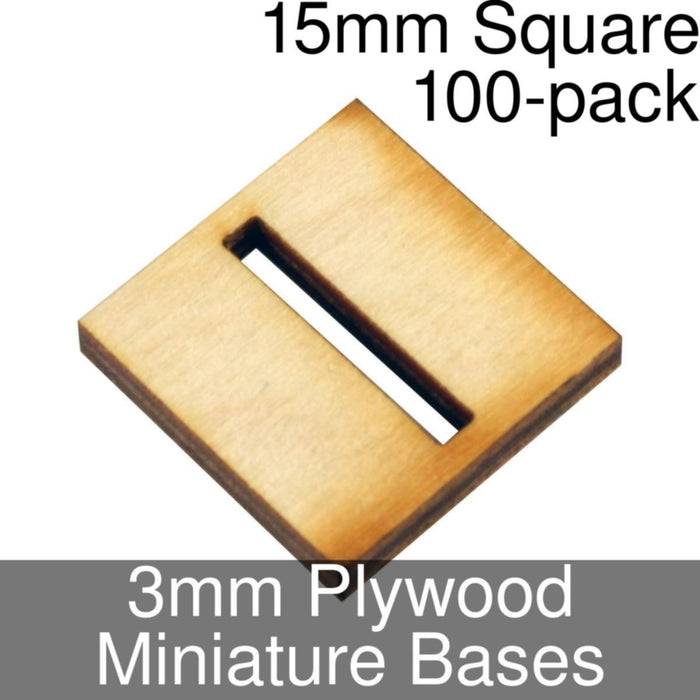Miniature Bases, Square, 15mm (Slotted), 3mm Plywood (100) - LITKO Game Accessories