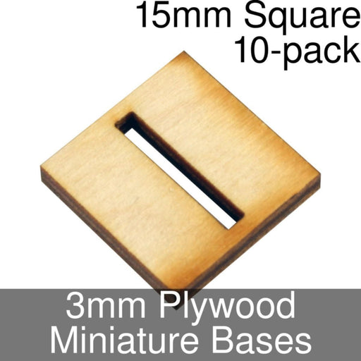 Miniature Bases, Square, 15mm (Slotted), 3mm Plywood (10) - LITKO Game Accessories