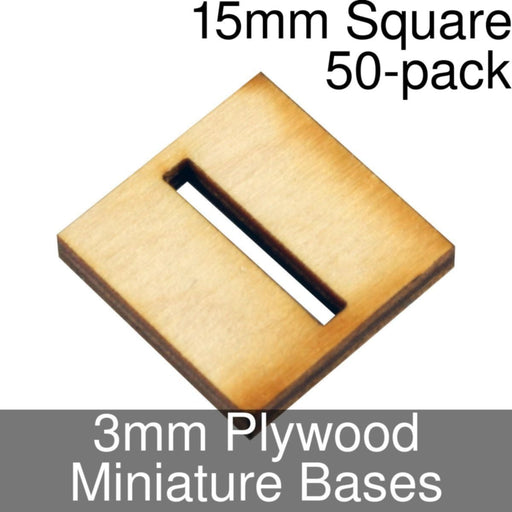 Miniature Bases, Square, 15mm (Slotted), 3mm Plywood (50) - LITKO Game Accessories
