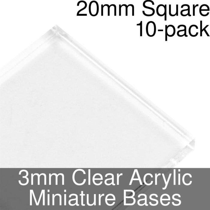Miniature Bases, Square, 20mm, 3mm Clear (10) - LITKO Game Accessories