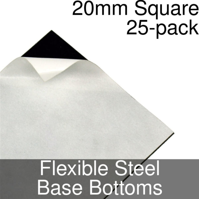 Miniature Base Bottoms, Square, 20mm, Flexible Steel (25) - LITKO Game Accessories