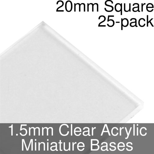 Miniature Bases, Square, 20mm, 1.5mm Clear (25) - LITKO Game Accessories