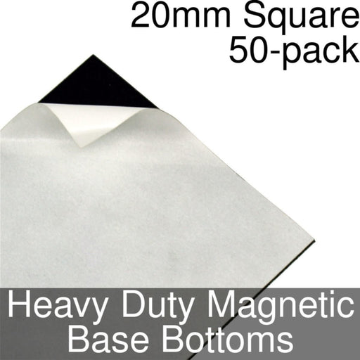 Miniature Base Bottoms, Square, 20mm, Heavy Duty Magnet (50) - LITKO Game Accessories