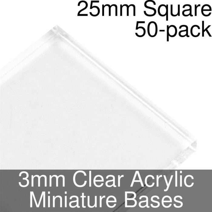 Miniature Bases, Square, 25mm, 3mm Clear (50) - LITKO Game Accessories