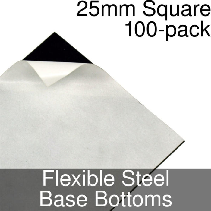 Miniature Base Bottoms, Square, 25mm, Flexible Steel (100) - LITKO Game Accessories