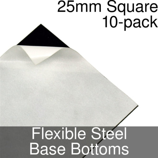 Miniature Base Bottoms, Square, 25mm, Flexible Steel (10) - LITKO Game Accessories