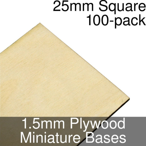 Miniature Bases, Square, 25mm, 1.5mm Plywood (100) - LITKO Game Accessories