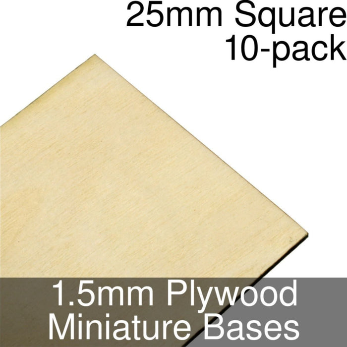Miniature Bases, Square, 25mm, 1.5mm Plywood (10) - LITKO Game Accessories