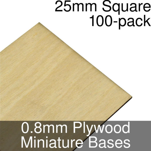 Miniature Bases, Square, 25mm, 0.8mm Plywood (100) - LITKO Game Accessories