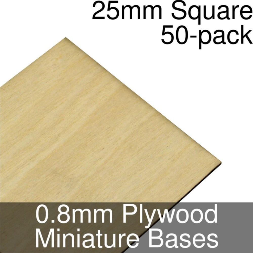Miniature Bases, Square, 25mm, 0.8mm Plywood (50) - LITKO Game Accessories