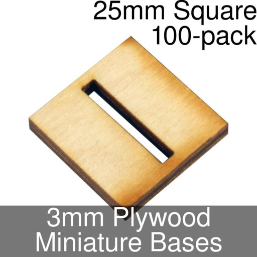Miniature Bases, Square, 25mm (Slotted), 3mm Plywood (100) - LITKO Game Accessories