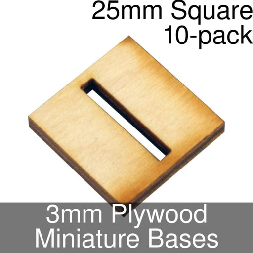 Miniature Bases, Square, 25mm (Slotted), 3mm Plywood (10) - LITKO Game Accessories