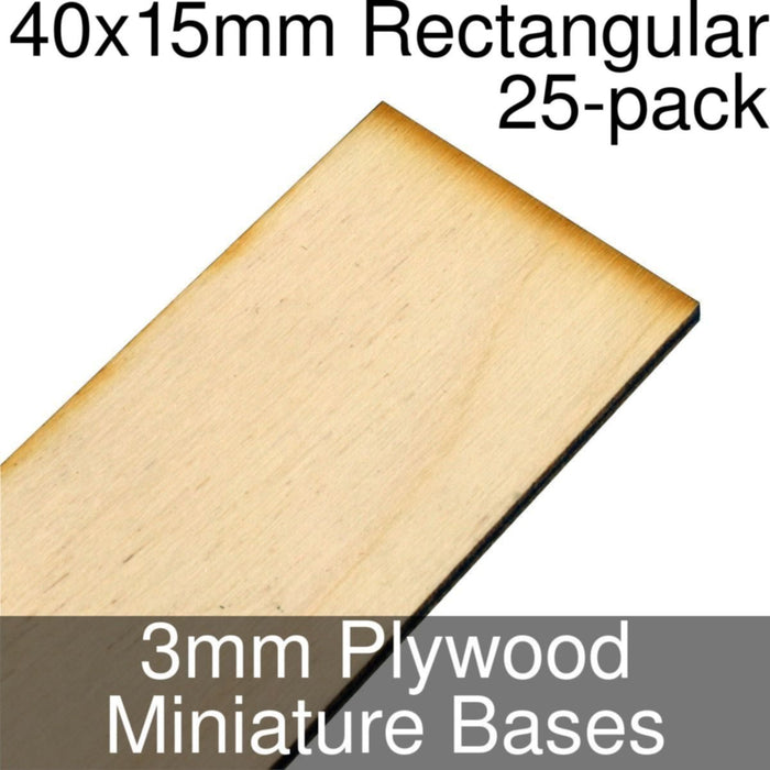 Miniature Bases, Rectangular, 40x15mm, 3mm Plywood (25) - LITKO Game Accessories