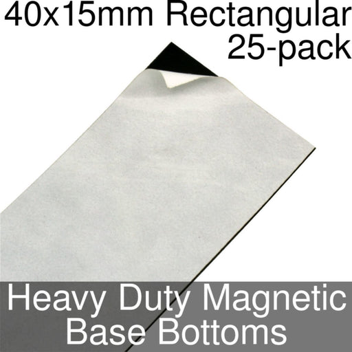 Miniature Base Bottoms, Rectangular, 40x15mm, Heavy Duty Magnet (25) - LITKO Game Accessories