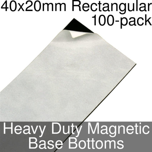 Miniature Base Bottoms, Rectangular, 40x20mm, Heavy Duty Magnet (100) - LITKO Game Accessories