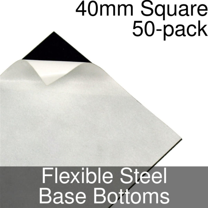 Miniature Base Bottoms, Square, 40mm, Flexible Steel (50) - LITKO Game Accessories
