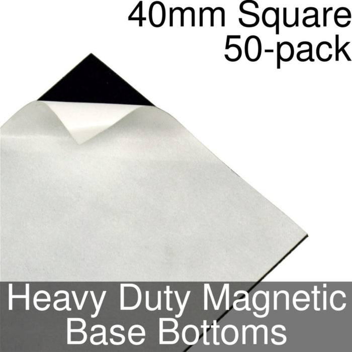 Miniature Base Bottoms, Square, 40mm, Heavy Duty Magnet (50) - LITKO Game Accessories