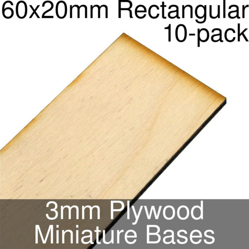 Miniature Bases, Rectangular, 60x20mm, 3mm Plywood (10) - LITKO Game Accessories