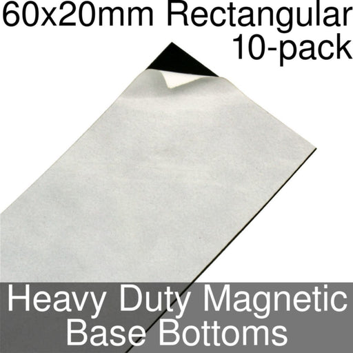 Miniature Base Bottoms, Rectangular, 60x20mm, Heavy Duty Magnet (10) - LITKO Game Accessories