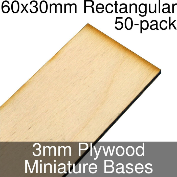 Miniature Bases, Rectangular, 60x30mm, 3mm Plywood (50) - LITKO Game Accessories