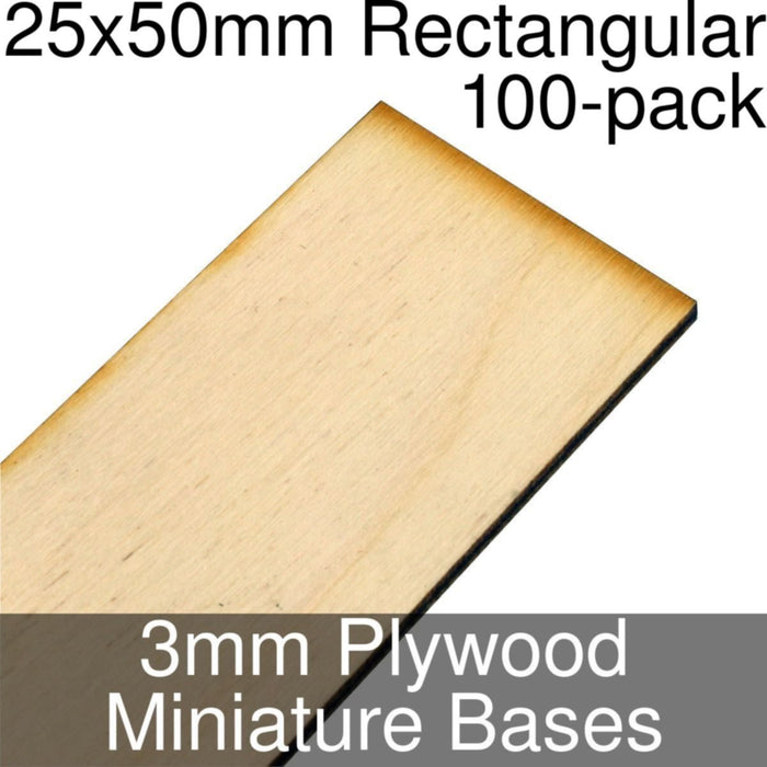 Miniature Bases, Rectangular, 25x50mm, 3mm Plywood (100) - LITKO Game Accessories