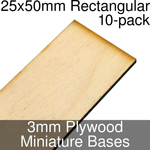Miniature Bases, Rectangular, 25x50mm, 3mm Plywood (10) - LITKO Game Accessories