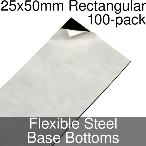 Miniature Base Bottoms, Rectangular, 25x50mm, Flexible Steel (100) - LITKO Game Accessories