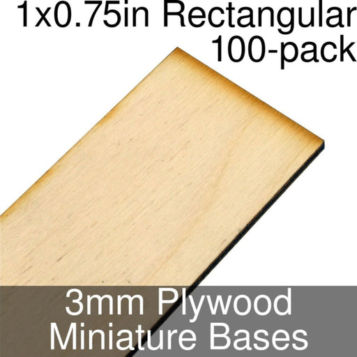 Miniature Bases, Rectangular, 1x0.75inch, 3mm Plywood (100) - LITKO Game Accessories